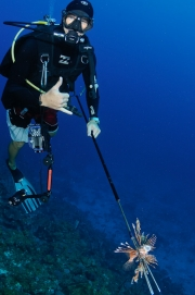 Pete Watkins has bagged a lionfish in Utila, Honduras